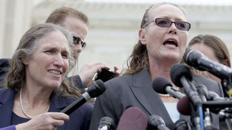 Margie Phelps, right, and Shirley Phelps-Roper of the Westboro Baptist Church, of Tokepa Kan., speak in front of the Supreme Court in Washington, Tuesday, Oct. 5, 2010, after the court heard arguments in the dispute between Albert Snyder, of York, Pa., and the Westboro Baptist Church. (AP Photo/Carolyn Kaster)