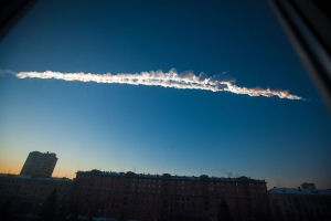 A meteorite contrail is seen over Chelyabinsk on Friday, Feb. 15, 2013.  (Chelyabinsk.ru)