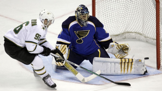 St Louis Blues Goalie Jaroslav Halak Right Of Slovakia Makes A Save