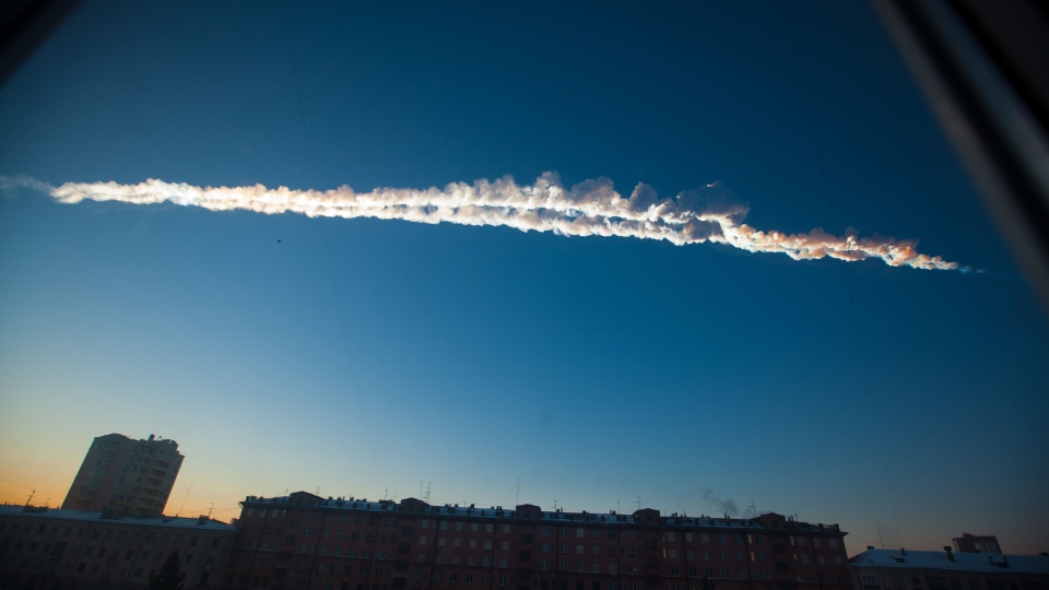 In this photo provided by Chelyabinsk.ru a meteorite contrail is seen over Chelyabinsk on Friday, Feb. 15, 2013. (AP / Chelyabinsk.ru)