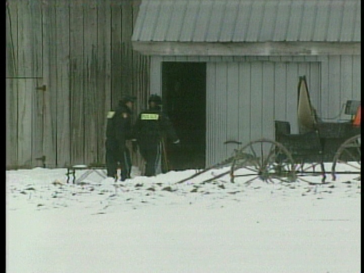 Ontario SPCA investigators are seen at a farm in the area of Listowel, Ont. in February 2012.