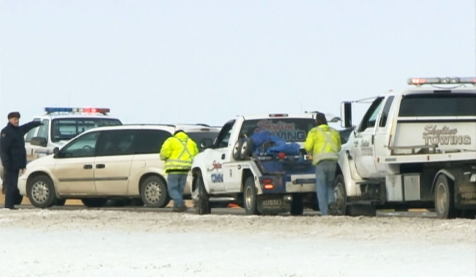 The crime scene outside Claresholm, Alta., the morning after the killings.