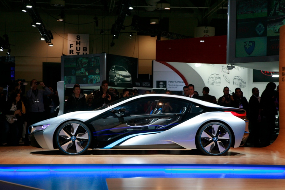 The BMW i8 is a plug-in hybrid, using both an electric drive system for the front wheels and a three-cylinder engine for the rear wheels. (Bill Wang/CTVNews.ca)