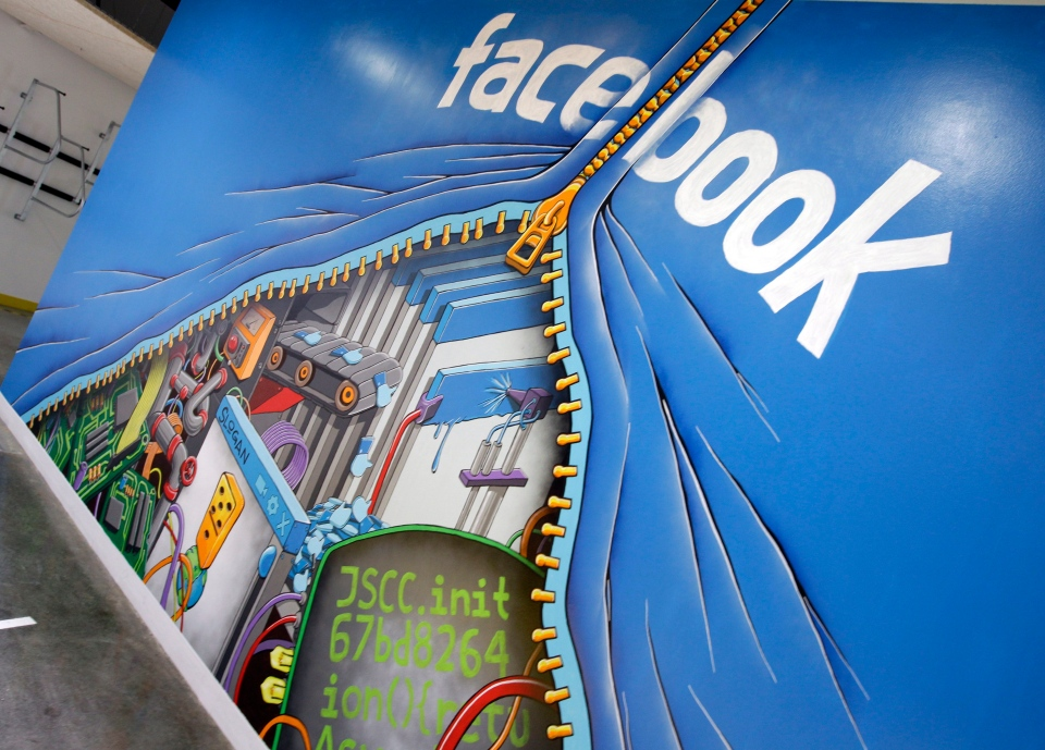 A mural is shown at Facebook headquarters in Menlo Park, Calif., Feb. 8, 2012. (AP / Paul Sakuma)