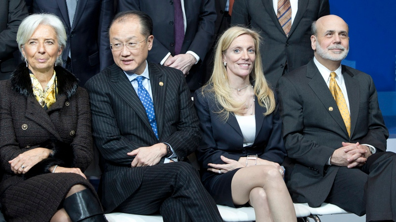 From right, Chairman of the U.S. Federal Reserve Ben Bernanke, Undersecretary of International Affairs at the U.S. Treasury Department Lael Brainard, World Bank President Jim Yong Kim and Chief of the International Monetary Fund Christine Lagarde attend a group photo ceremony at a meeting of G20 Finance Ministers in Moscow, Russia, Saturday, Feb. 16, 2013. (AP / Misha Japaridze)