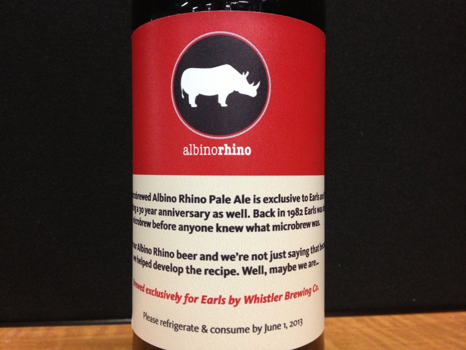 Controversial 'Albino Rhino' beer has been taken off the menu of restaurant chain Earl's after its name leads to protests. (CTVNews.ca / Julia Parrish)