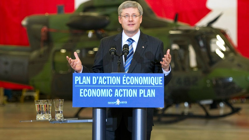 Prime Minister Stephen Harper speaks to employees during a visit to the Bell Textron plant in Mirabel, Que. on Friday, January 14, 2011. (Ryan Remiorz / THE CANADIAN PRESS)