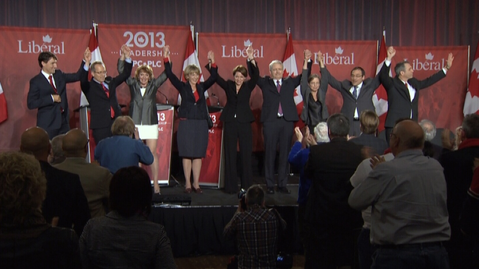 Ontario Liberal leadership candidates pose during the third Liberal leadership debate in Mississauga, Ont., Saturday, Feb. 16, 2013.