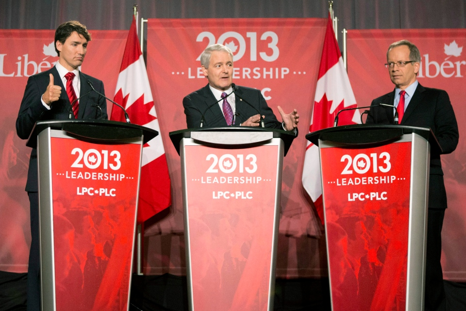 Justin Trudeau, left to right, Marc Garneau and George Takach take part in the Liberal leadership debate in Mississauga, Ont., on Saturday, Feb. 16, 2103. (Chris Young / THE CANADIAN PRESS)