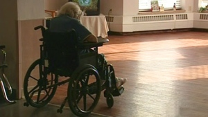 A senior citizen is seen inside a long-term care home in Ontario.