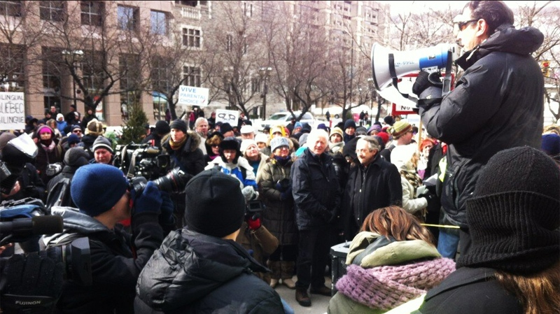 About 250 people showed up to protest Bill 14 on a cold Sunday morning in downtown Montreal. (Image CTV Montreal).