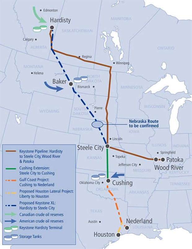 Keystone XL Pipeline: Map of proposed route and Factfile ...