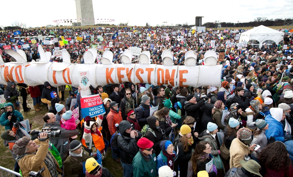 Protestors gather calling on U.S. President Barack Obama to reject the Keystone XL oil pipeline from Canada in Washington on Sunday, Feb. 17, 2013. (AP / Manuel Balce Ceneta)