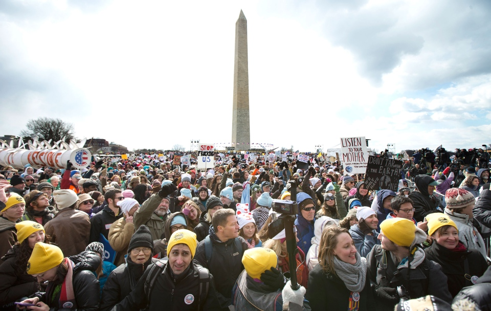 Thousands of protestors gather calling on U.S. President Barack Obama to reject the Keystone XL oil pipeline from Canada in Washington on Sunday, Feb. 17, 2013. (AP / Manuel Balce Ceneta)