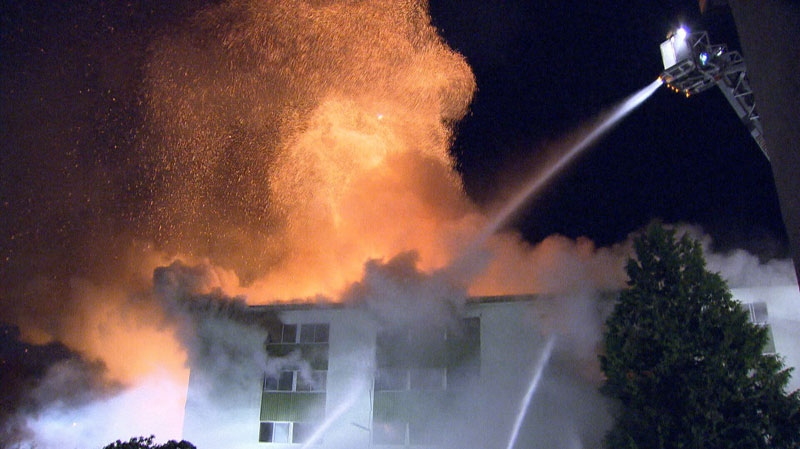 Crews battle a massive blaze in Burnaby that destroyed a 35-unit apartment complex Sunday, Feb. 17. (CTV)