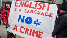English-rights protest in Quebec