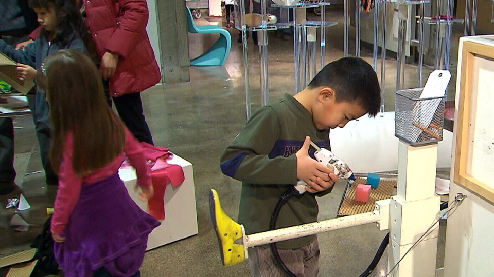 Children take part in some creative fun at the Ontario Science Centre in Toronto, Sunday, Feb. 17, 2013.