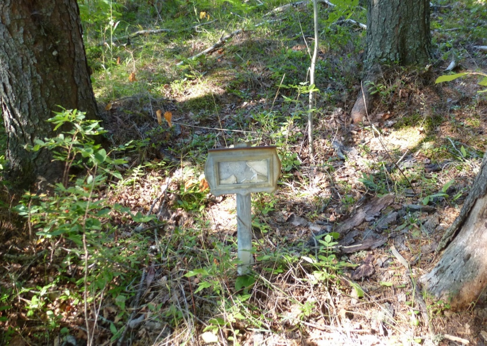 A tin marker, likely issued by the Dept. of Indian Affairs, marks the resting place of a student from the St Joseph's Indian residential school in Chapleau, Ont., photographed on Aug. 12, 2012. (Alex Maass)