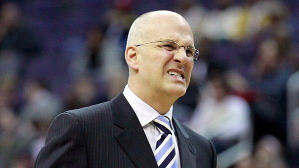 Toronto Raptors coach Jay Triano reacts in the second half of an NBA basketball game with the Washington Wizards in Washington, Saturday, Jan. 15, 2011. Wizards won 98-95. (AP Photo/Alex Brandon)