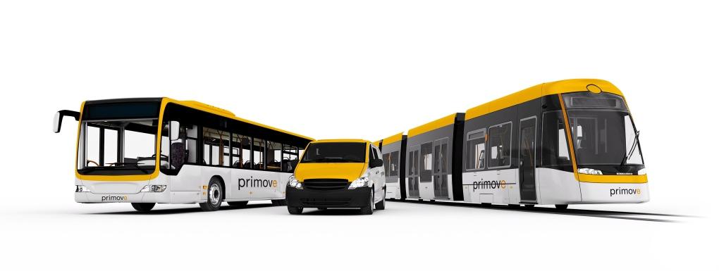 An electric bus, minivan a light rail car using th