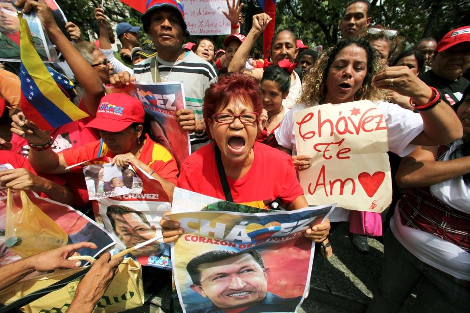 Supporters of Venezuela's President Hugo Chavez celebrate his return at Bolivar Square in Caracas, Venezuela, Monday, Feb. 18, 2013. (AP / Fernando Llano)
