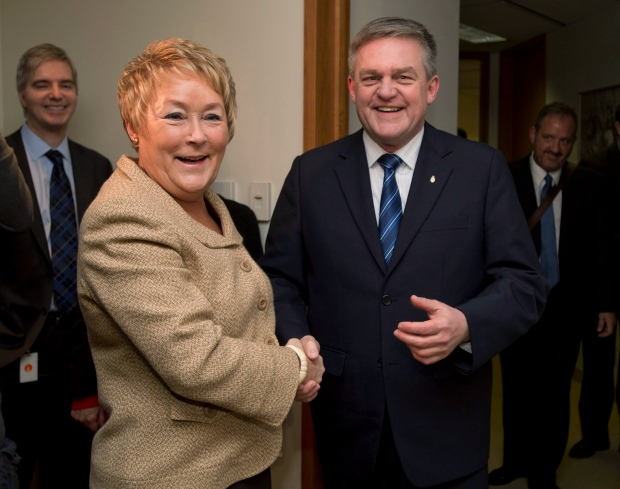 Quebec Premier Pauline Marois greets New Brunswick