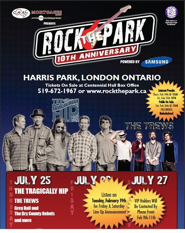 A promotional poster from rockthepark.ca for the festival in London, Ont.