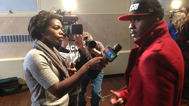 CTV Toronto reporter Andria Case speaks with rapper Maestro after the 2013 Juno nominees were announced in Toronto, Tuesday, Feb. 19, 2013. (Jeff Long / CTV Toronto)