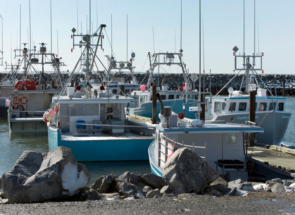 Fishing boats remain at the dock in Woods Harbour, N.S. on Tuesday, Feb. 19, 2013. (Andrew Vaughan / THE CANADIAN PRESS)