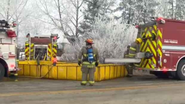 Fire crews had to truck water in to fight the blaze.