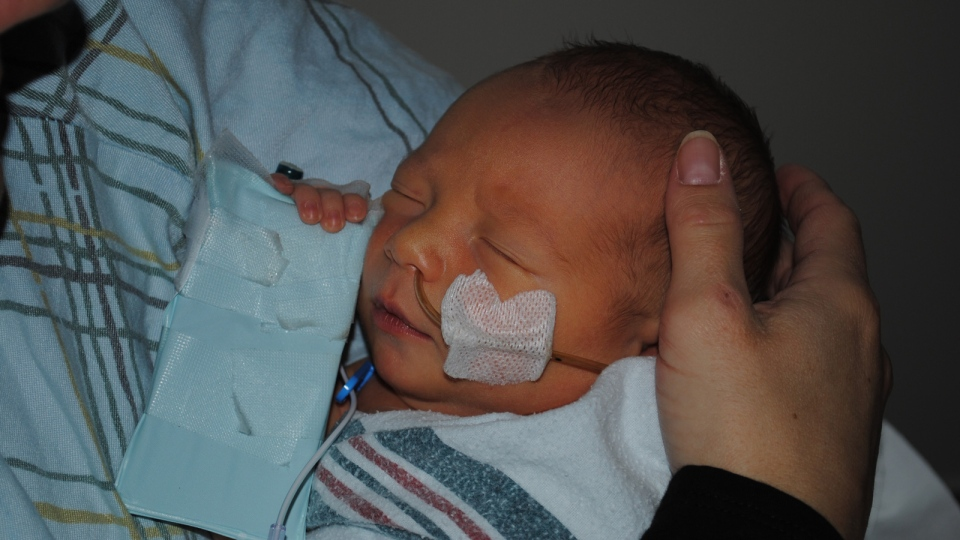 Kaiden's parents didn't know they were both carriers of the CF gene. He was just over a week old when they got the shocking diagnosis.