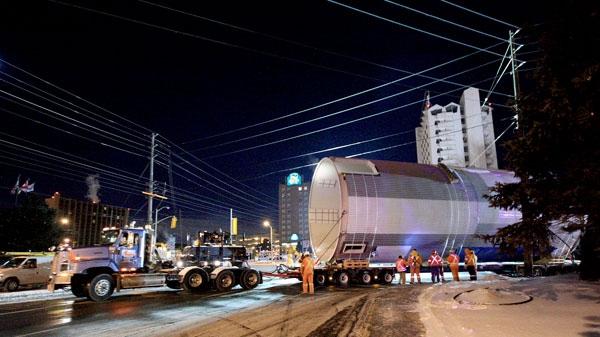 Massive beer vats are seen arriving at the Molson plan in Toronto, Monday, Jan. 17, 2011. (Tom Stefanac/CTV.ca)