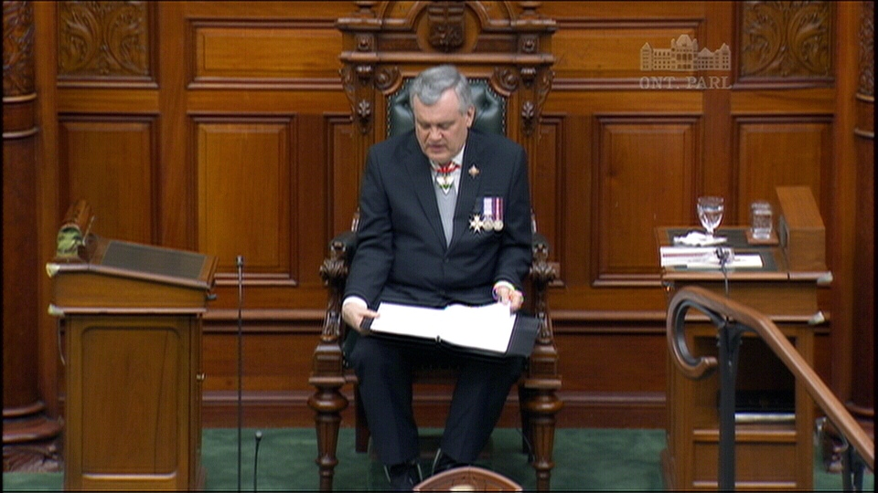 Ontario Lt.-Gov. David Onley delivers the Throne Speech at Queens Park in Toronto on Tuesday, Feb 19, 2013.