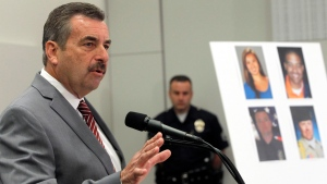 Los Angeles Police Chief Charlie Beck speaks at a new conference, Tuesday Feb. 19, 2013 in Los Angeles. (AP/Nick Ut)