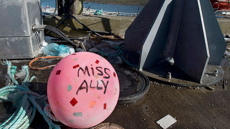 A buoy from the ill-fated fishing boat Miss Ally rests on the dock in Woods Harbour, N.S. on Tuesday, Feb. 19, 2013. (Andrew Vaughan / THE CANADIAN PRESS)