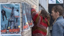 """Activists and residents of Vancouver's Downtown Eastside protest a proposal to raise allowable building heights in the downtown """"historic area."""" Jan. 17, 2011. (CTV)"""