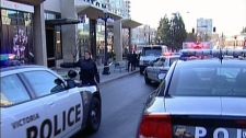 A Victoria police officer was stabbed numerous times in the neck, hands and arms outside a downtown 7-Eleven. Jan. 17, 2011. (CTV)