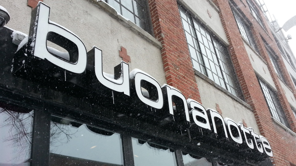 Buonanotte restaurant was fined by the Office quebecois de la langue francaise for using Italian words to name menu items, even though the full descriptions of the food are in French. (CTV Montreal/Marc Latendresse)