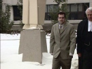Christopher Gale is seen outside the courthouse where his second-degree murder trial is taking place in London, Ont. on Wednesday, Feb. 20, 2013.