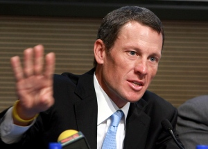 Lance Armstrong speaks during a press conference in Rome in this 2009 file photo. (AP Photo/Sandro Pace)