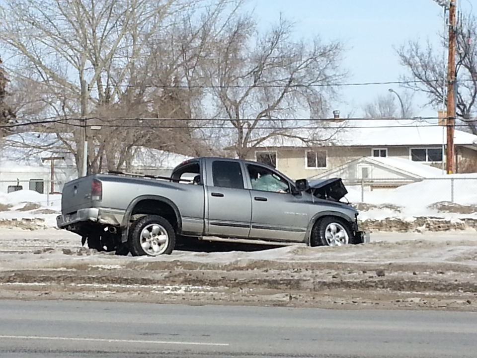 A stolen pickup truck is seen following a fatal crash at the intersection of Arcola Avenue and Park Street in Regina on Wednesday.