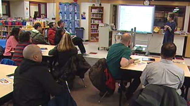 Teachers at Winnipeg's Van Walleghem School host Numerical Information Evenings to help parents understand 'New Math' concepts.