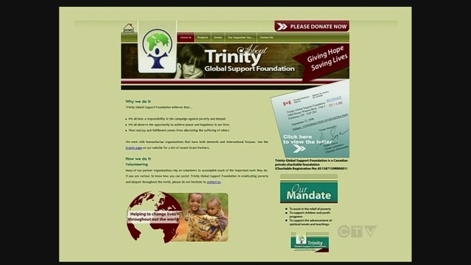 An image from the Trinity Global Support Foundation website is seen on Thursday, Feb. 21, 2012.