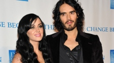 Katy Perry and husband actor Russell Brand attend the 2nd annual 'Change Begins Within' benefit celebration, hosted by the David Lynch Foundation at the Metropolitan Museum of Art on Monday, Dec. 13, 2010 in New York. (AP / Evan Agostini)