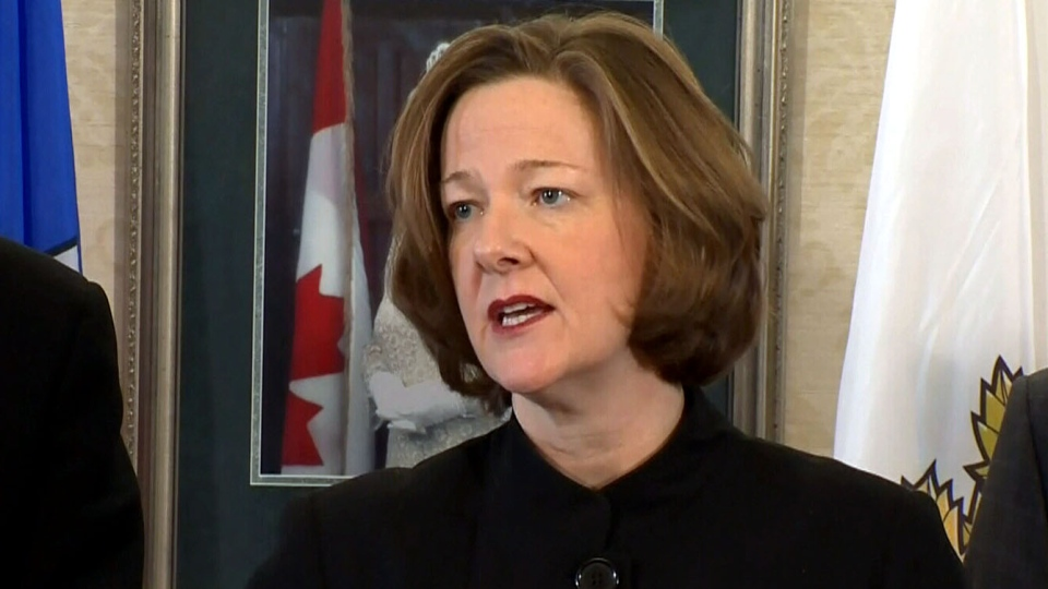 Alberta Premier Alison Redford speaks about her upcoming trip to Washington to discuss the future of the Keystone XL pipeline, Thursday, Feb. 21, 2013.