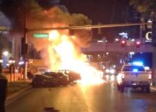 Smoke and flames on Las Vegas Strip
