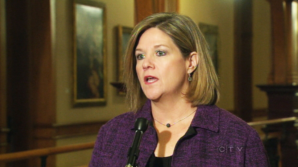 NDP Leader Andrea Horwath speaks to reporters at Queen's Park on Friday, Feb. 22, 2013.