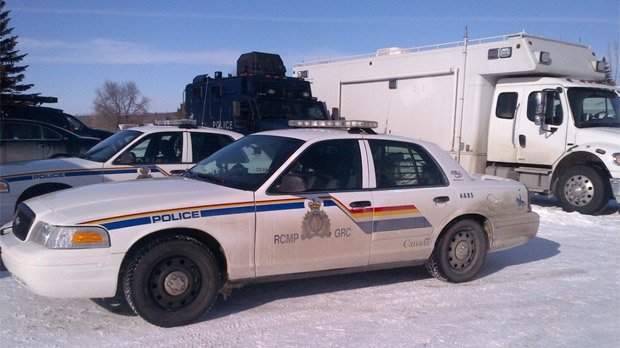 Multiple RCMP officers were on scene and a command post set up in Rapid City on Feb. 22, 2013.