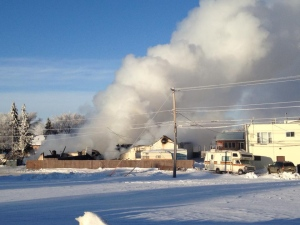 Late Thursday evening, fire crews were called to the Pioneer Hotel in Sedgewick, Alberta (located approximately 160 kilometres southeast of Edmonton). The hotel was engulfed in flames and destroyed. The cause of the fire is under investigation. Image: Connie Mikkelson Cote