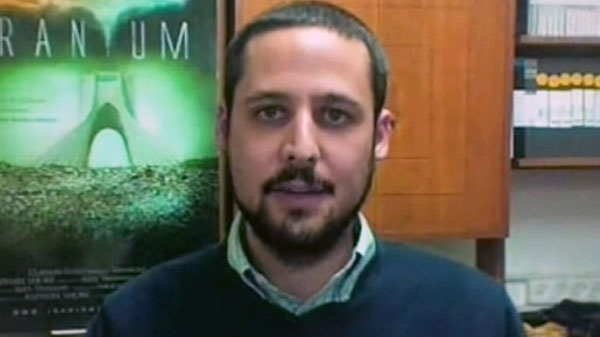 Alex Traiman, director of the film 'Iranium,' speaks with CTV News Via Skype from Jerusalem in this undated photo.